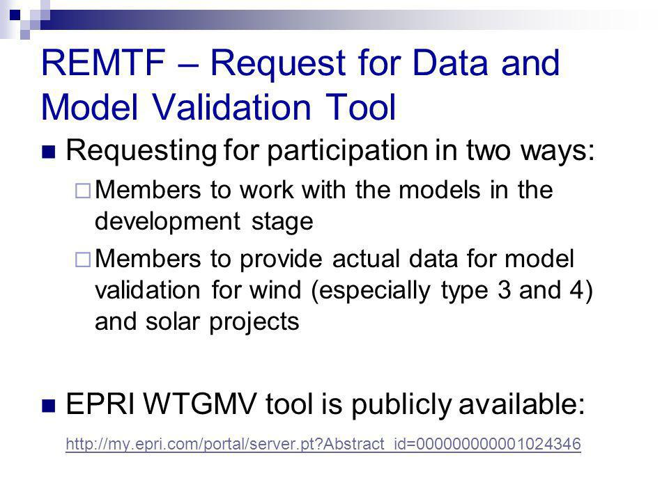 REMTF – Request for Data and Model Validation Tool