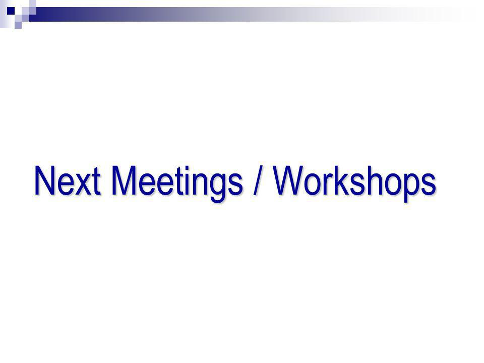 Next Meetings / Workshops