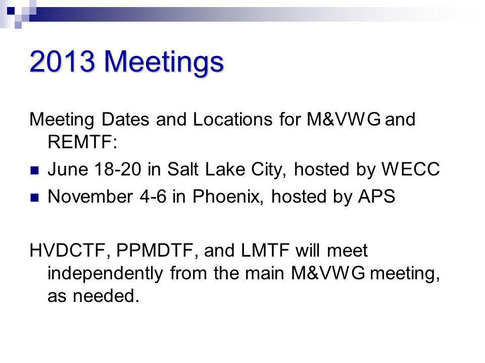 2013 Meetings Meeting Dates and Locations for M&VWG and REMTF: