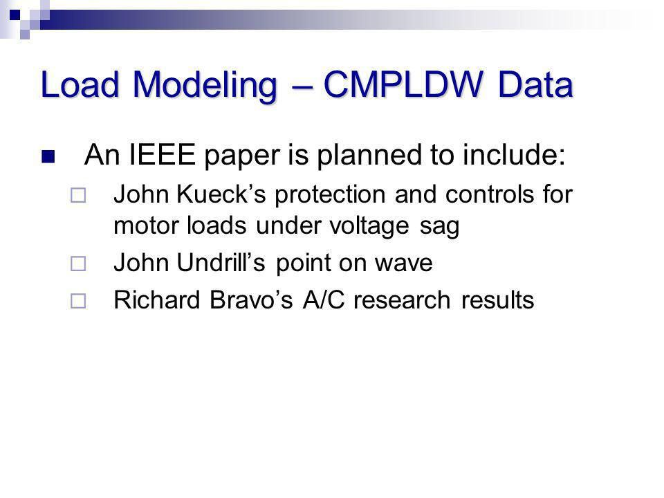 Load Modeling – CMPLDW Data
