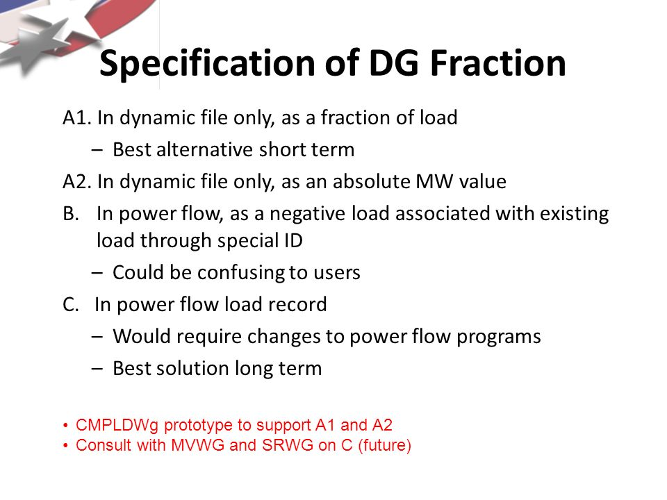 Specification of DG Fraction