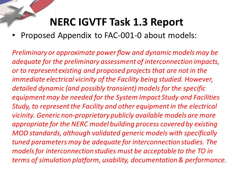 NERC IGVTF Task 1.3 Report Proposed Appendix to FAC-001-0 about models: