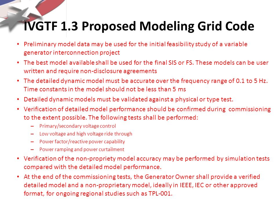 IVGTF 1.3 Proposed Modeling Grid Code