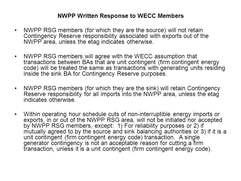 NWPP Written Response to WECC Members