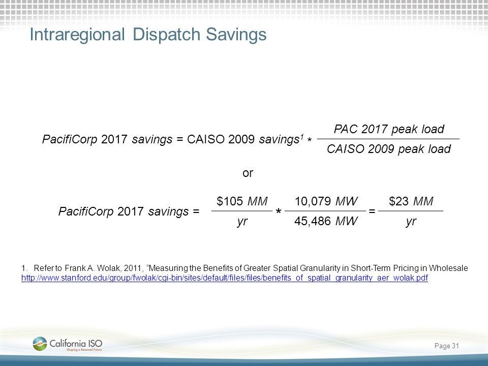 * Intraregional Dispatch Savings