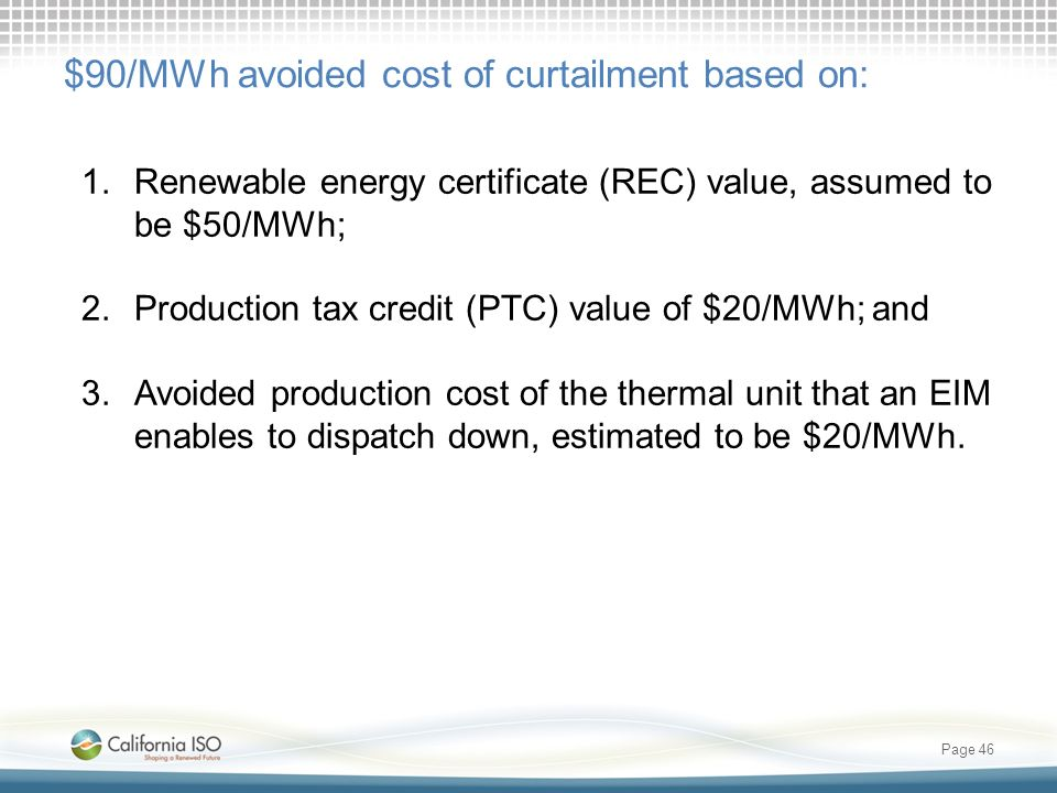 $90/MWh avoided cost of curtailment based on: