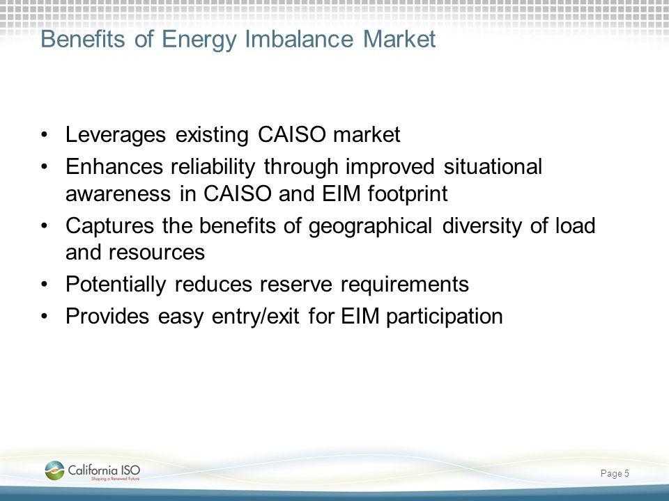 Benefits of Energy Imbalance Market