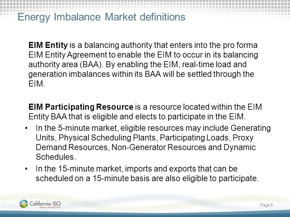 Energy Imbalance Market definitions