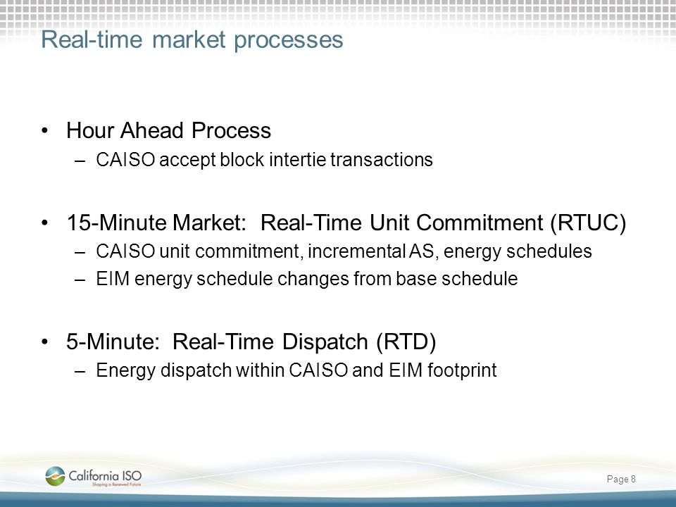 Real-time market processes