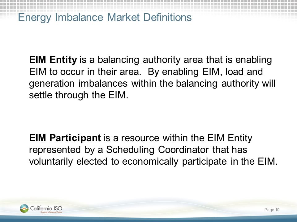 Energy Imbalance Market Definitions