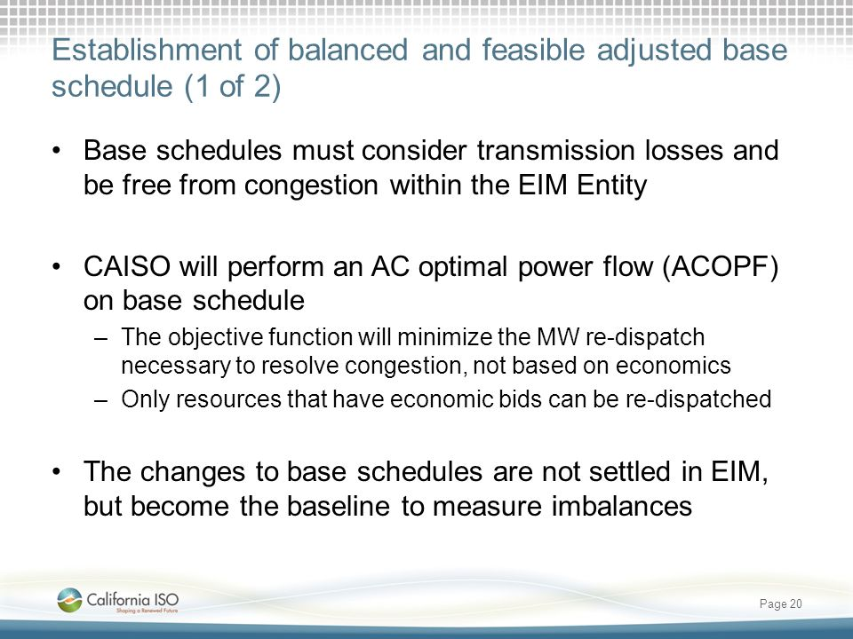 Establishment of balanced and feasible adjusted base schedule (1 of 2)