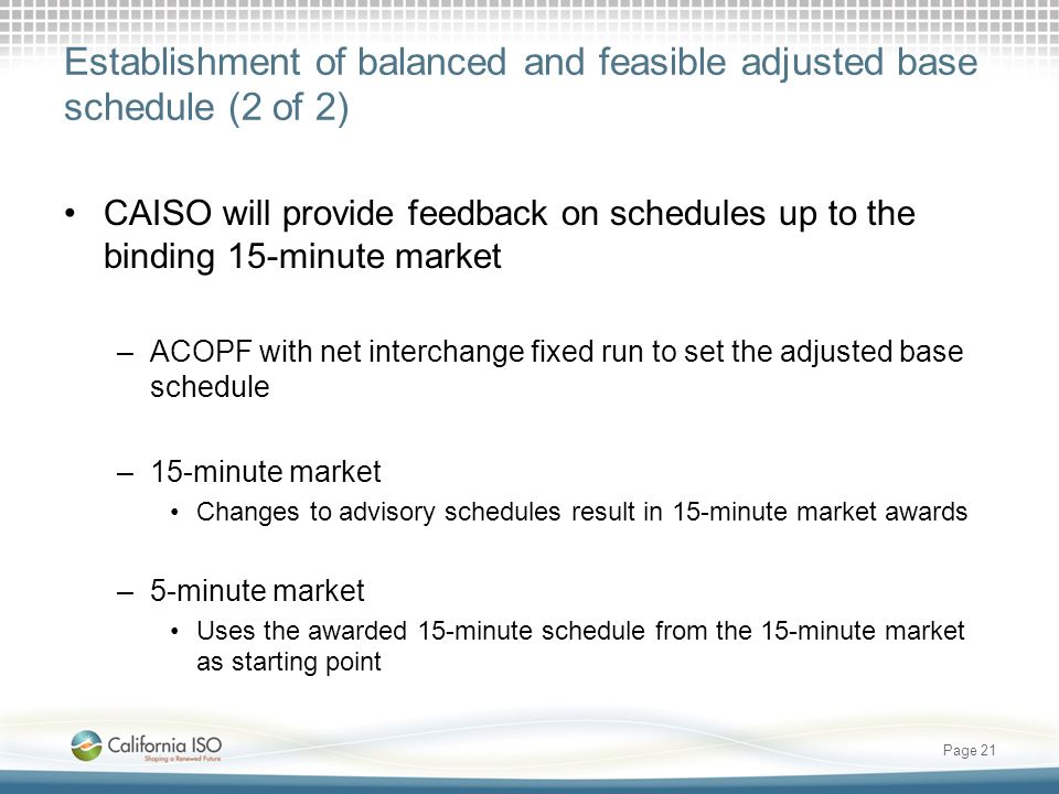 Establishment of balanced and feasible adjusted base schedule (2 of 2)