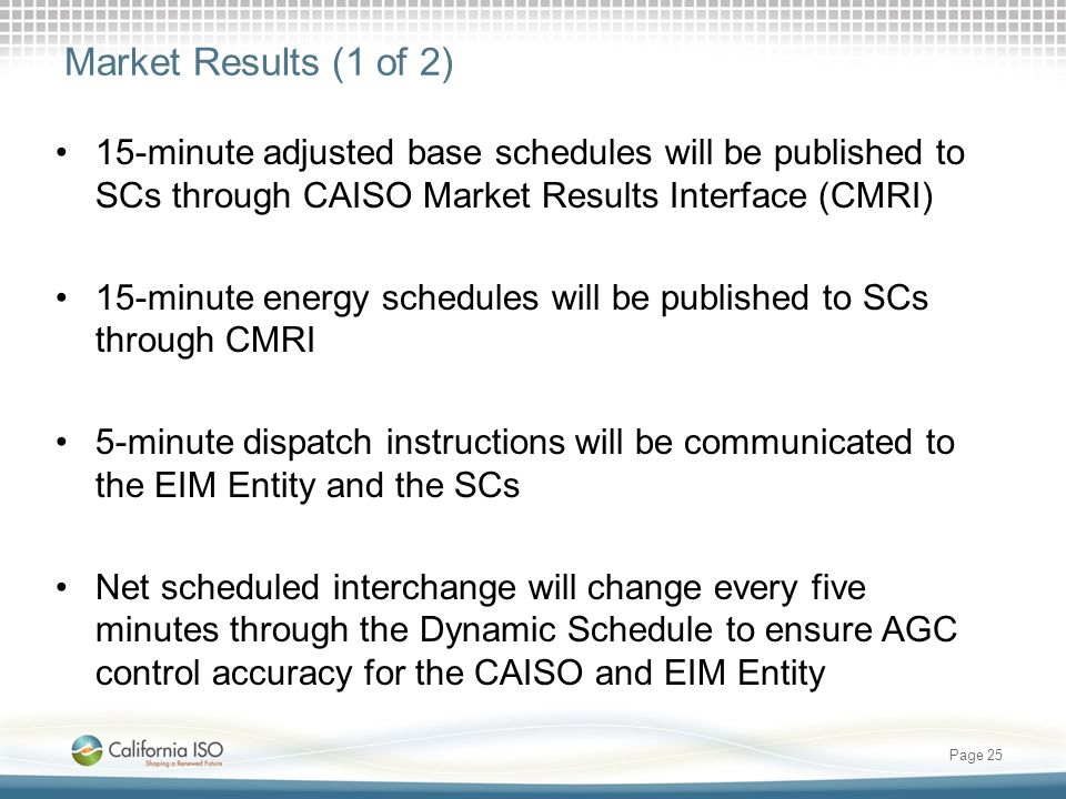Market Results (1 of 2) 15-minute adjusted base schedules will be published to SCs through CAISO Market Results Interface (CMRI)
