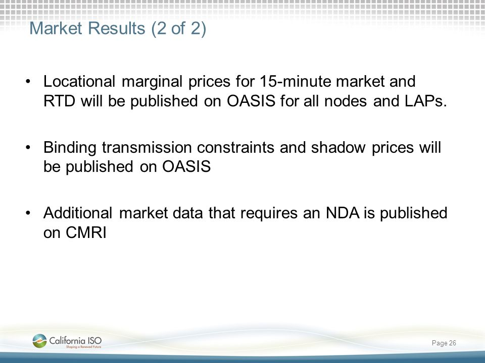 Market Results (2 of 2) Locational marginal prices for 15-minute market and RTD will be published on OASIS for all nodes and LAPs.