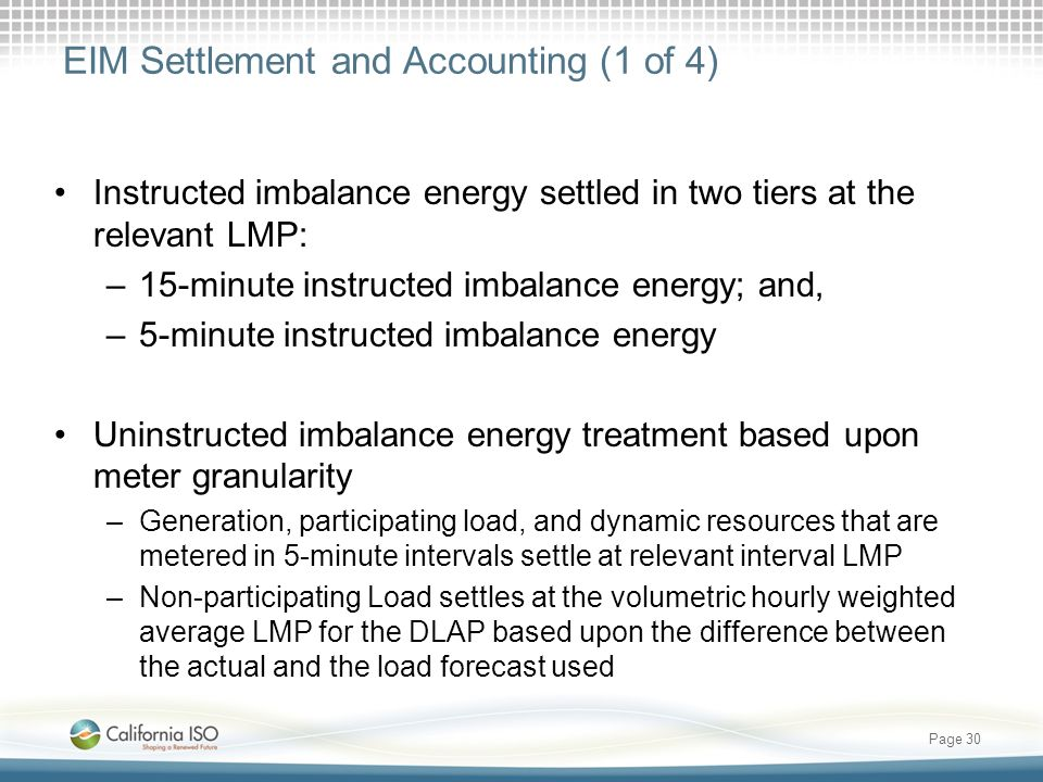 EIM Settlement and Accounting (1 of 4)