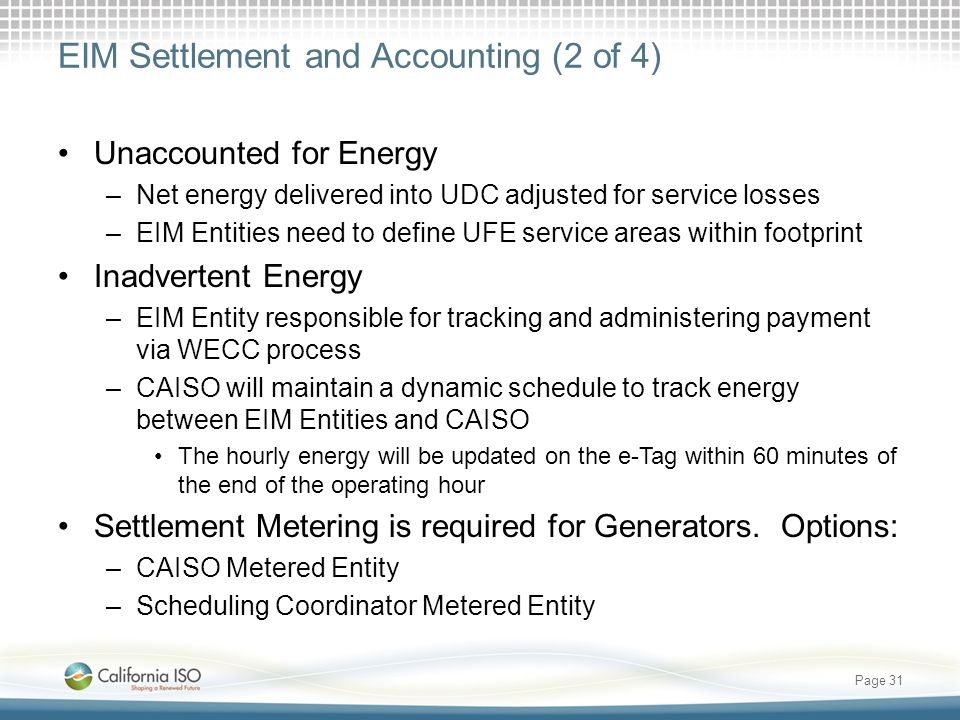 EIM Settlement and Accounting (2 of 4)