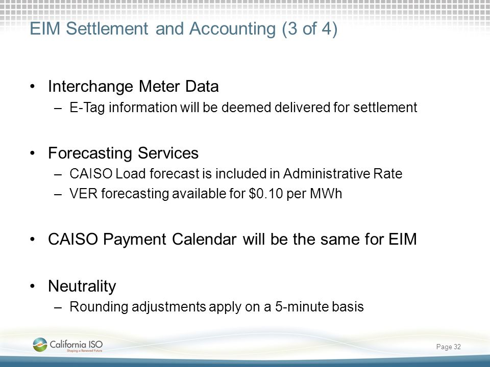 EIM Settlement and Accounting (3 of 4)