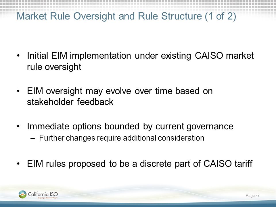 Market Rule Oversight and Rule Structure (1 of 2)