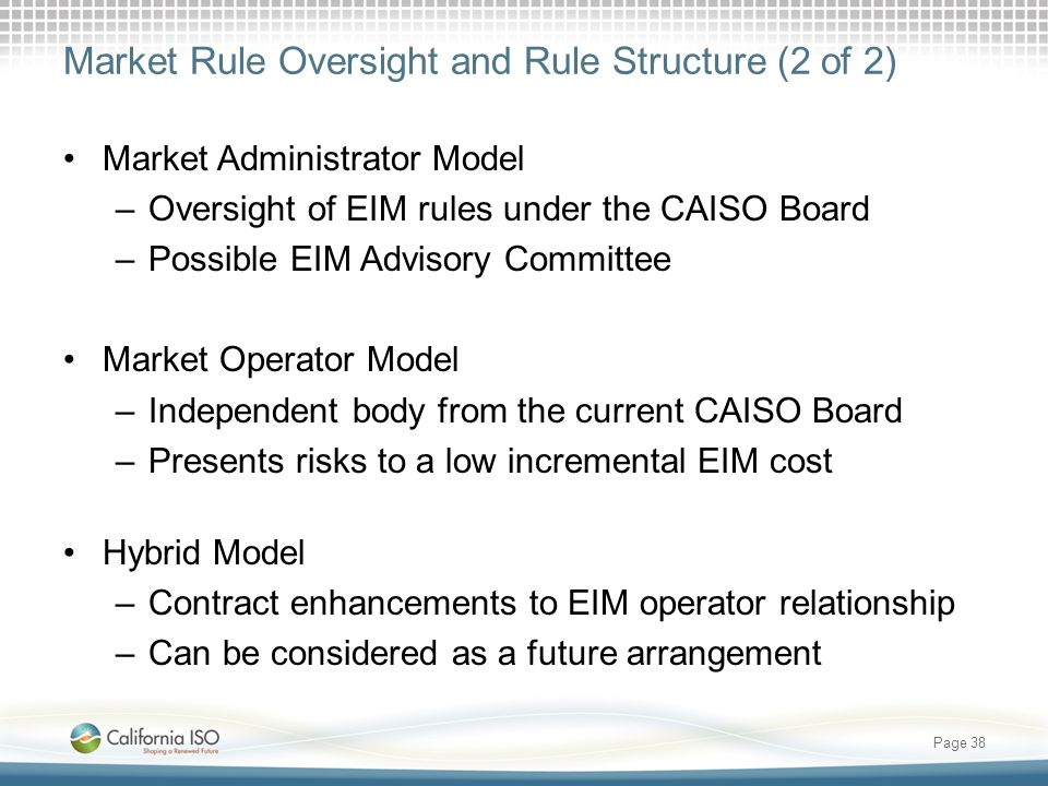 Market Rule Oversight and Rule Structure (2 of 2)