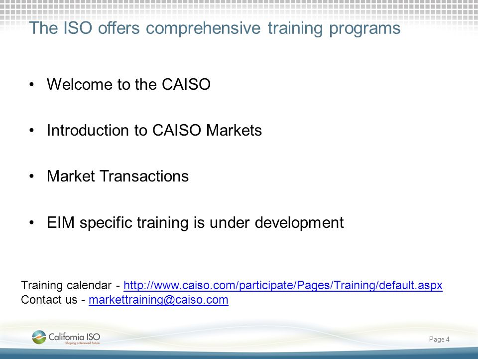 The ISO offers comprehensive training programs