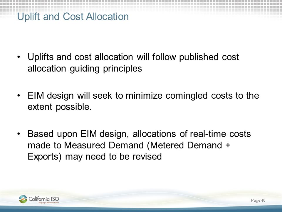 Uplift and Cost Allocation