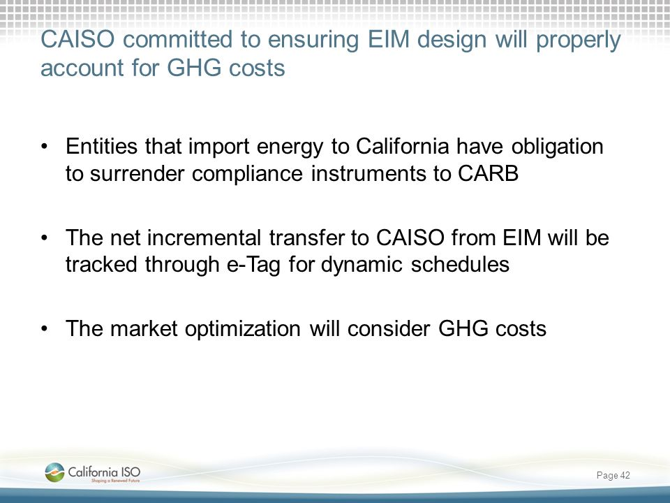 CAISO committed to ensuring EIM design will properly account for GHG costs
