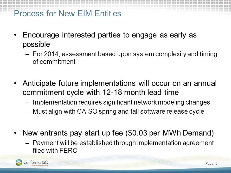 Process for New EIM Entities