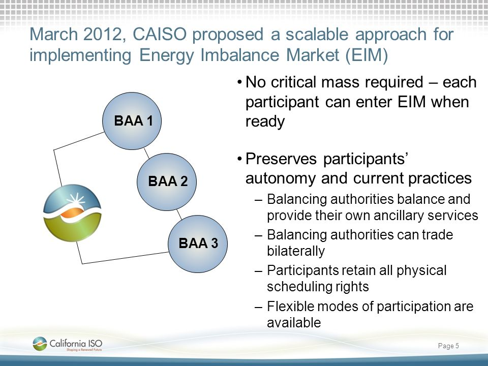 March 2012, CAISO proposed a scalable approach for implementing Energy Imbalance Market (EIM)