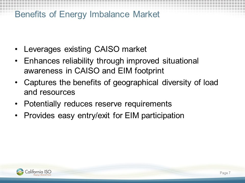 Benefits of Energy Imbalance Market