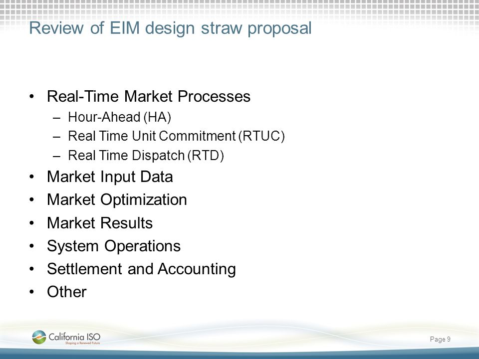 Review of EIM design straw proposal