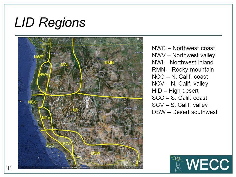 LID Regions NWC – Northwest coast NWV – Northwest valley