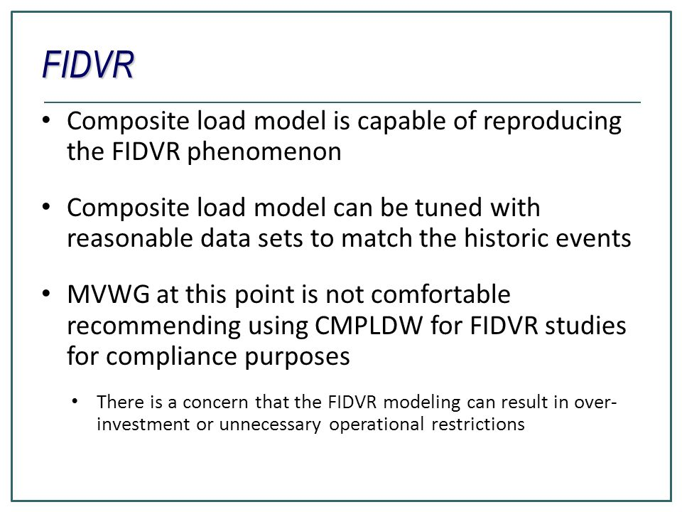 FIDVR Composite load model is capable of reproducing the FIDVR phenomenon.