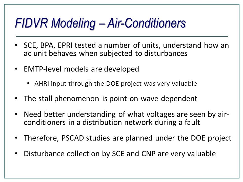 FIDVR Modeling – Air-Conditioners