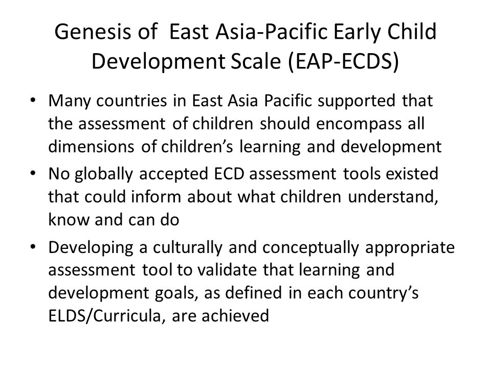 Early childhood development ecd scales overview lessons genesis of east asia pacific early child development scale eap ecds sciox Choice Image