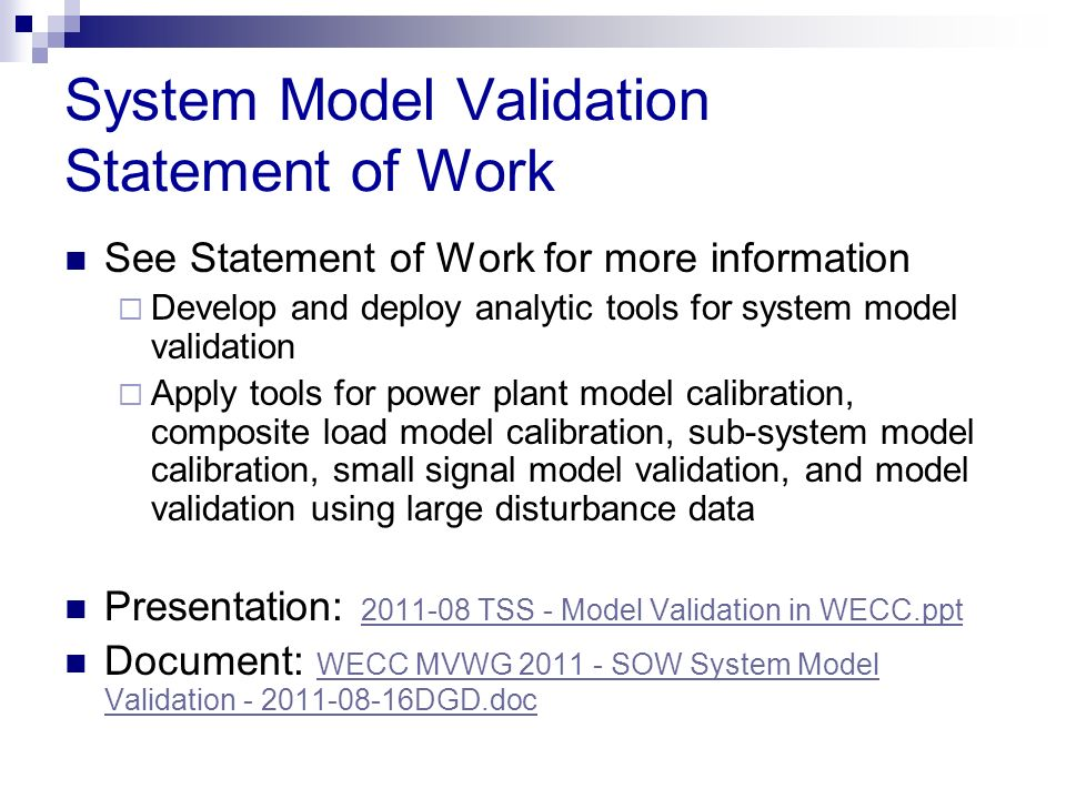 System Model Validation Statement of Work