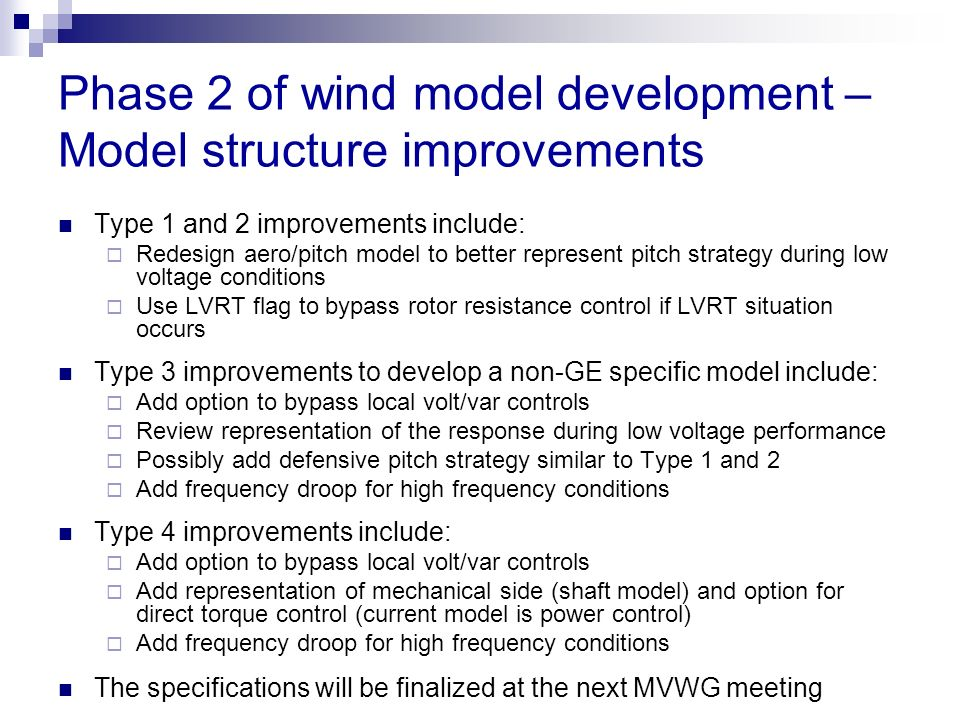 Phase 2 of wind model development – Model structure improvements