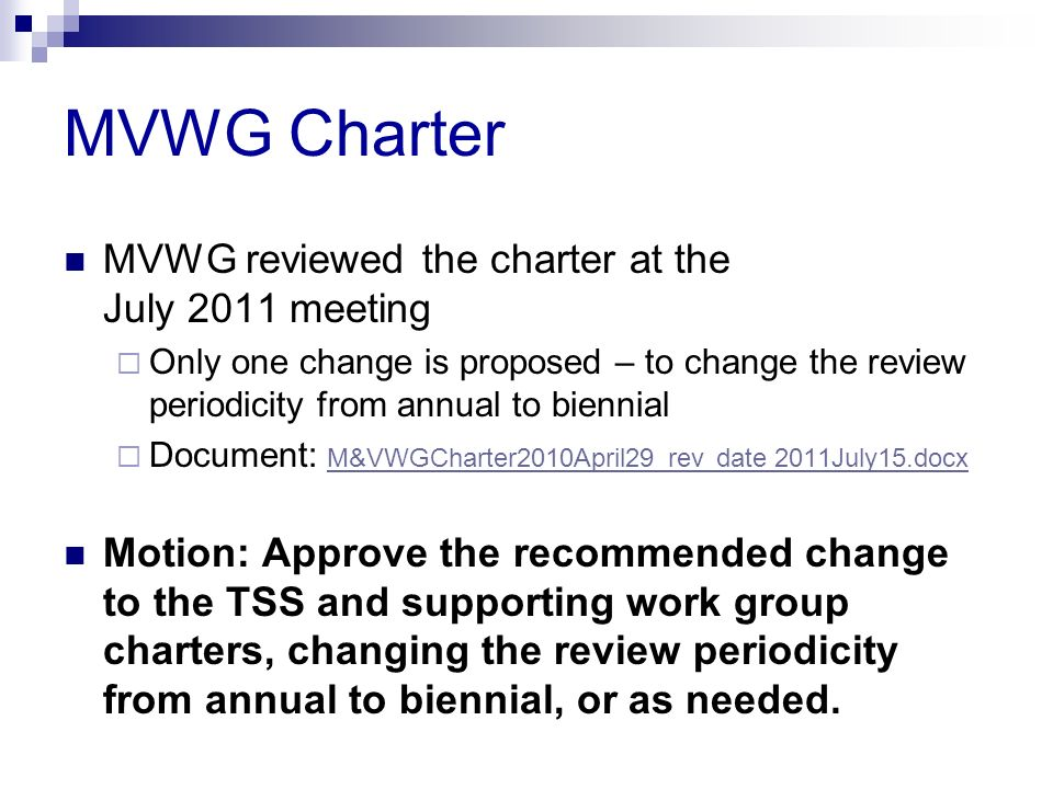 MVWG Charter MVWG reviewed the charter at the July 2011 meeting
