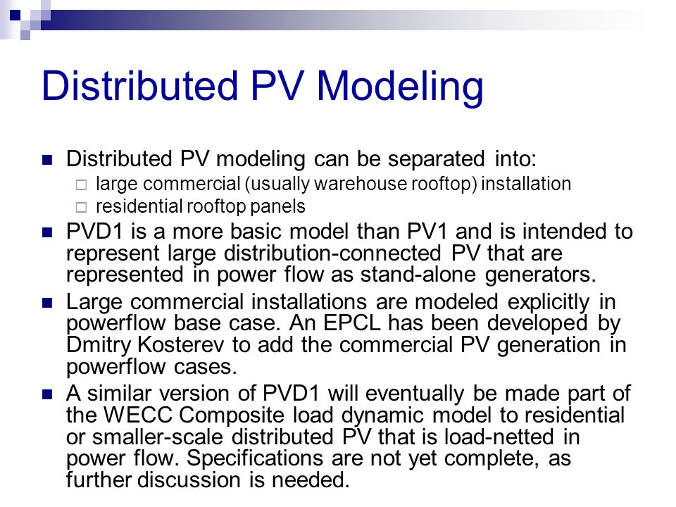 Distributed PV Modeling