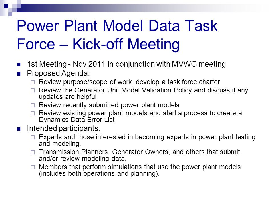 Power Plant Model Data Task Force – Kick-off Meeting