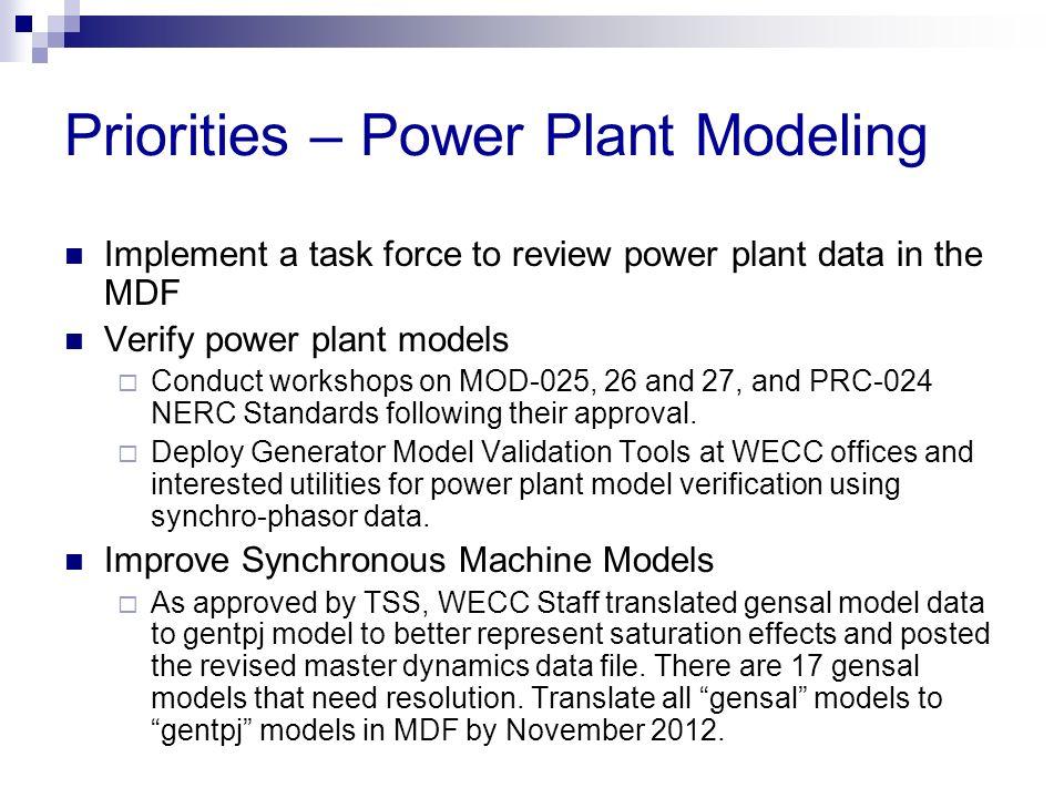 Priorities – Power Plant Modeling
