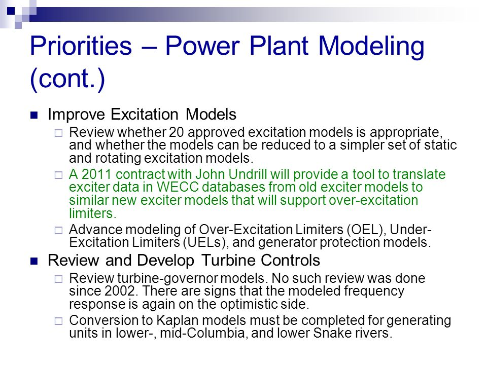 Priorities – Power Plant Modeling (cont.)