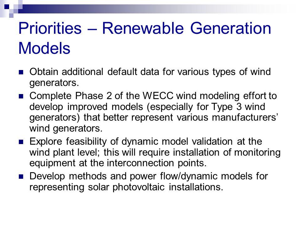 Priorities – Renewable Generation Models