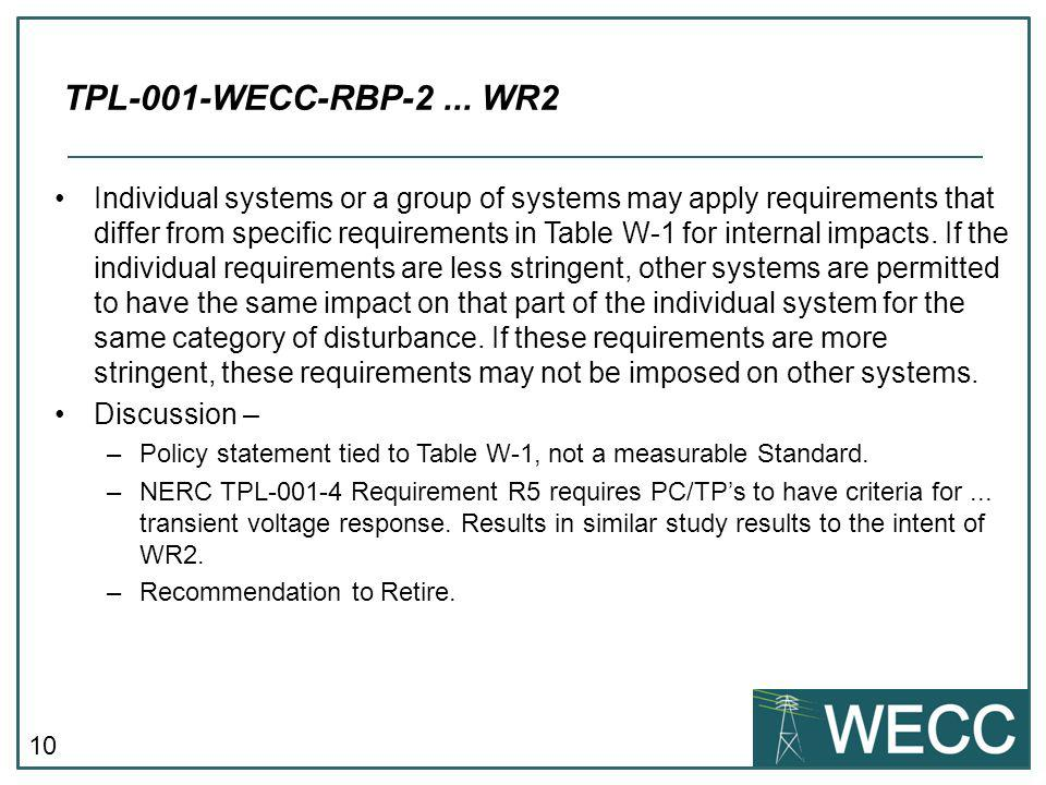 TPL-001-WECC-RBP-2 ... WR2