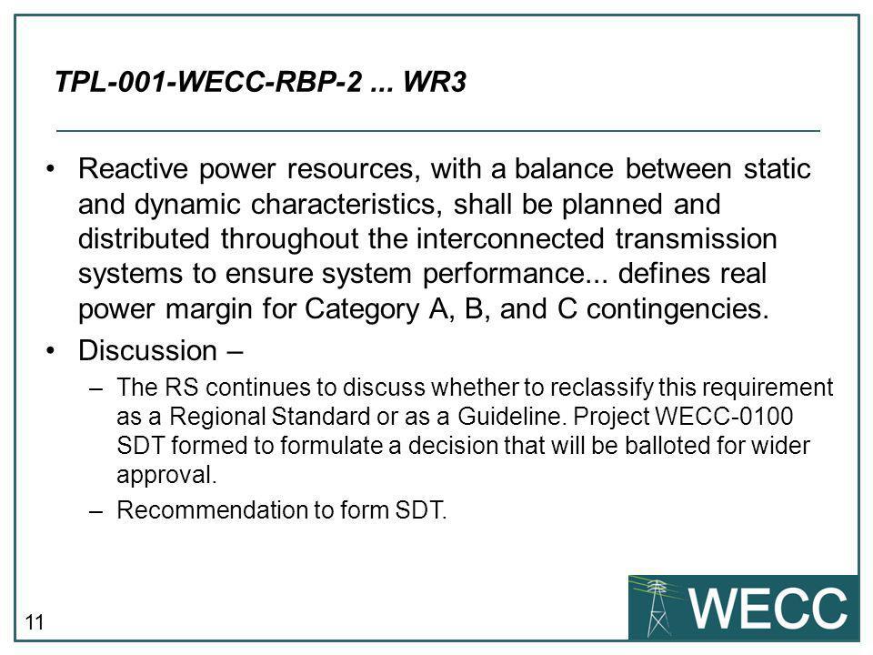 TPL-001-WECC-RBP-2 ... WR3