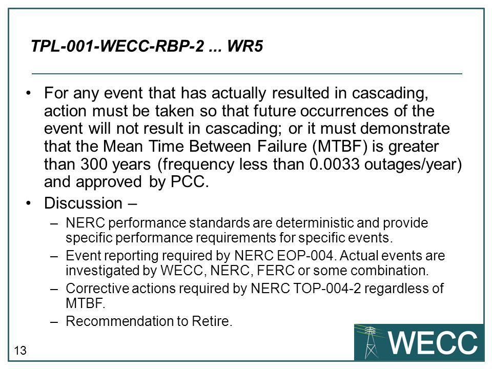 TPL-001-WECC-RBP-2 ... WR5