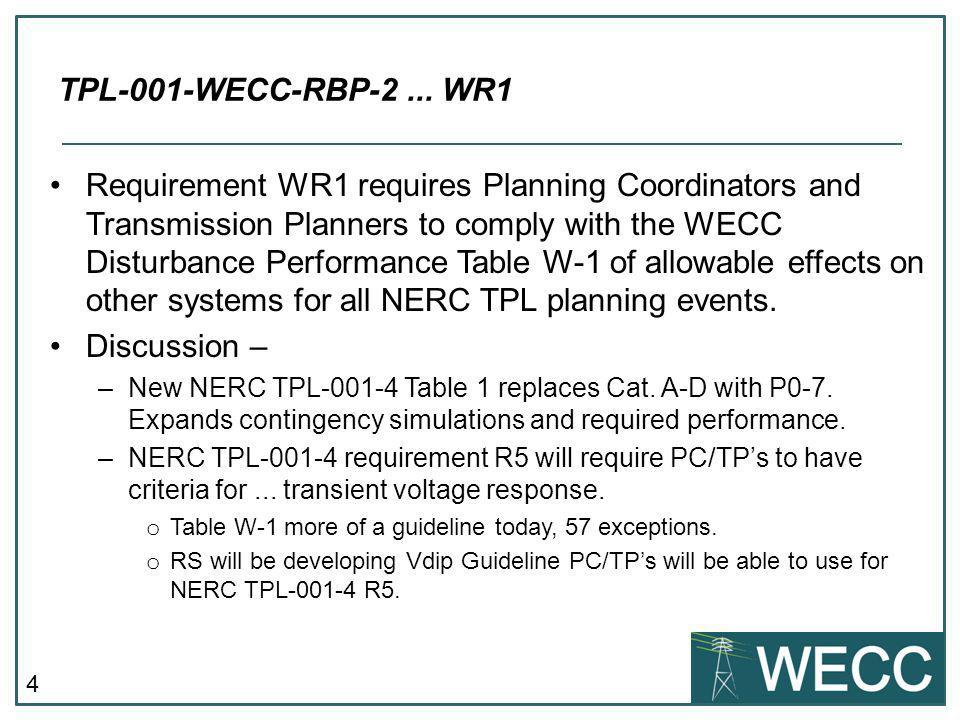 TPL-001-WECC-RBP-2 ... WR1