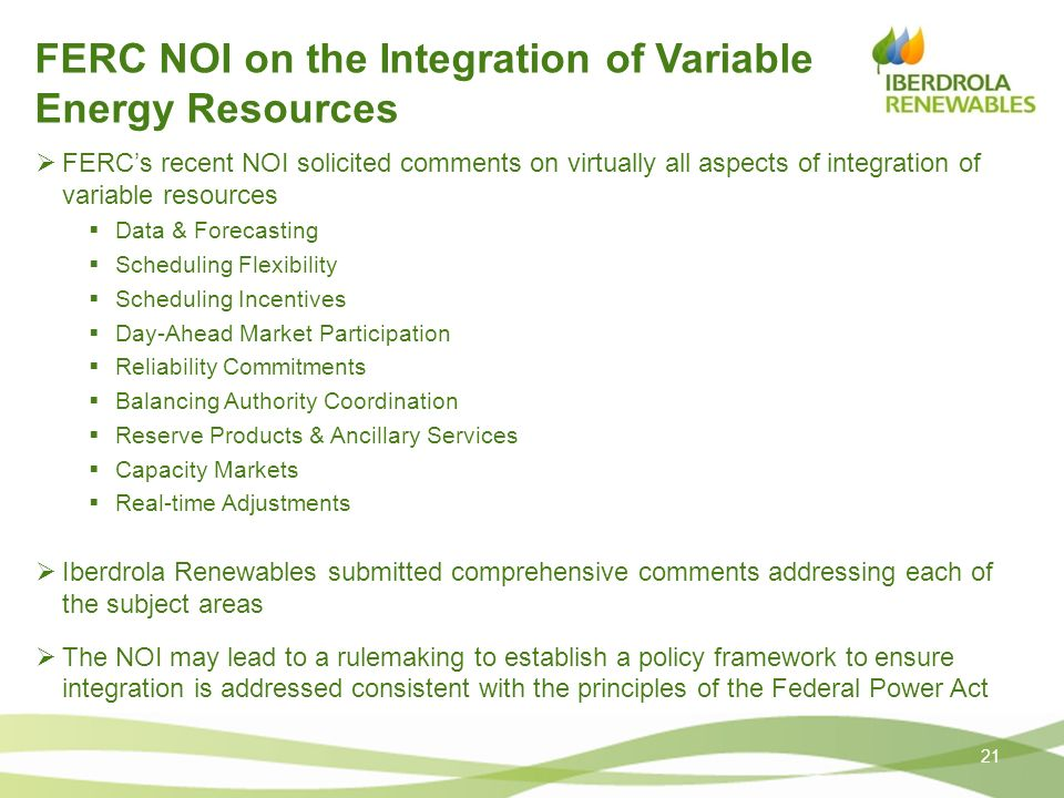 FERC NOI on the Integration of Variable Energy Resources