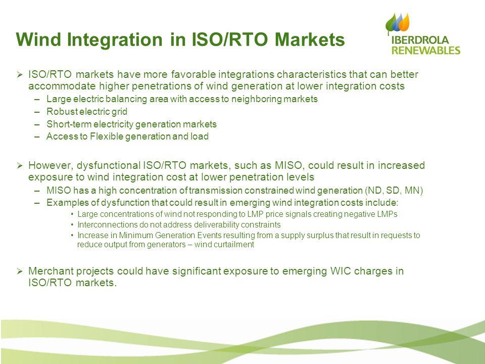 Wind Integration in ISO/RTO Markets