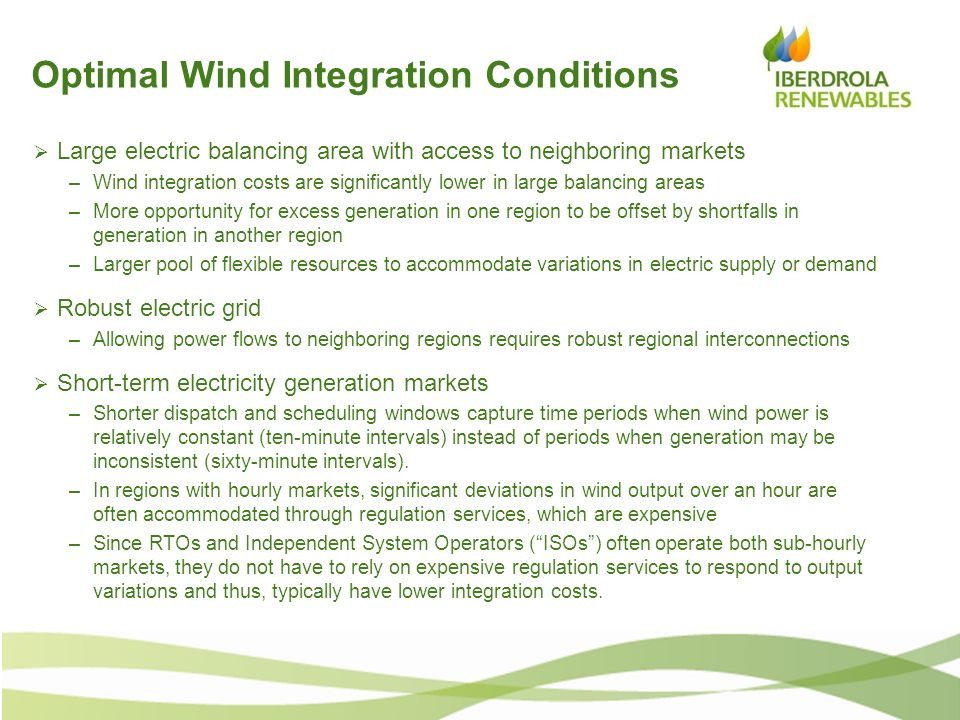 Optimal Wind Integration Conditions