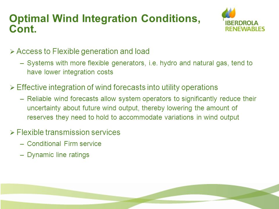 Optimal Wind Integration Conditions, Cont.